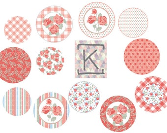 """INSTANT DOWNLOAD Digital collage """"shabby chic"""" for bottle cap, pendant, scrapbooking, mirror, badge"""