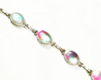 Iridescent Art Glass Bracelet In Sterling Silver, Handmade Jewelry By NorthCoastCottage Jewelry Design & Vintage Treasures