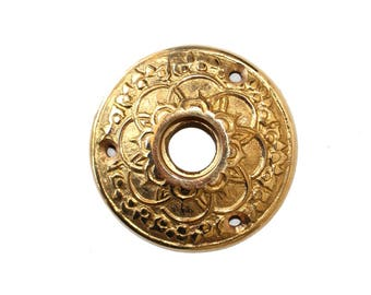 Brass Rosette Round Door Plate with Floral Design Vintage Style