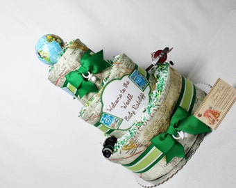 Travel Baby Diaper Cake Globe World Maps BOYS GIRLS NEUTRAL Shower Centerpiece Gift Final Destination