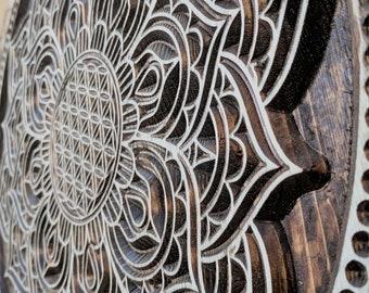 Mandala, Wood Carved Flower of Life Mandala, Sacred Geometric Wall Art, Meditation Art, Mandala Wall Art, Yoga Wall Art, Mandala Decor,