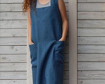 Square cross linen apron / Japanese linen apron / Full linen apron / steel blue