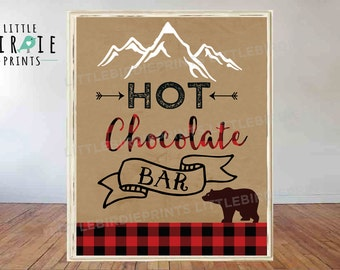 Hot Chocolate Bar sign LUMBERJACK Hot Chocolate bar sign Lumberjack First Birthday Party Lumberjack baby shower instant download