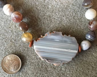 Striped Agate necklace with earthy striped agate pendant and faceted Botswana agate