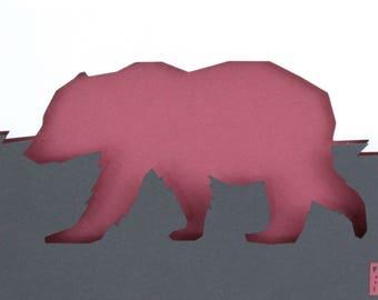 Walking Bear Layered Paper 3D Art