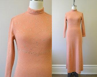 1970s Julie Francis Peach Knit Sparkle Maxi Dress