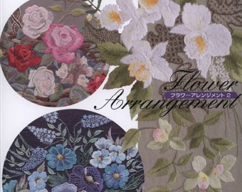 "23 EMBROIDERY FLOWER PATTERN-""Flower Arrangement""-Japanese Craft E-Book #504.Four Instant Download Pdf files"