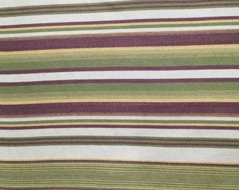 FABRIC SALE!!! Purple - Green - Yellow - White -  Railroaded Stripe - Upholstery Fabric by the Yard