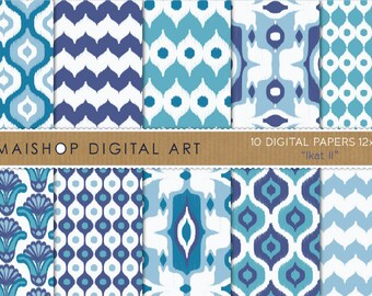 Digital Paper 'Ikat II' Blue and White Patterns Scrapook Paper for Invitations, Scrapbooking, Papercraft, Decoupage, Cards...