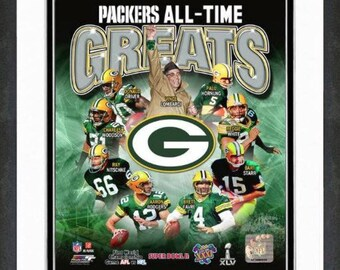 """Green Bay Packers All Time Greats 8x10 Photo Matted & Framed 12.5"""" x 15.5"""""""