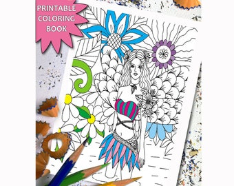 Fairy Tales  ADULT COLORING BOOK, Printable Adult Coloring Book Page, Flower doodles Zentangle LineArt Instant Download Printable