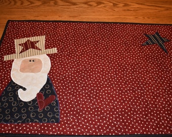 """Whimsical Uncle Sam on this Extra Wide Quilted Runner measuring 30"""" long by 20.5"""" high"""