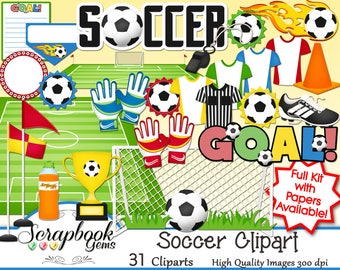 SOCCER Clipart, 31 png Clipart files Instant Download sports soccer ball goalie goalkeeper net goal futbol flame trophy field cleat takkie