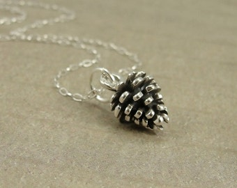 Pine Cone Necklace, Sterling Silver Pine Cone Charm on a Silver Cable Chain