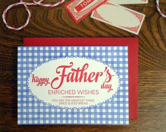 letterpress bread bag happy father's day greeting card blue gingham with red script type greeting card greatest thing since sliced bread