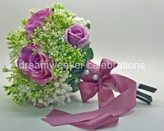 GABRIELLA. Silk flower bouquet, Pink rose, Babys' breath, Wedding and bridal accessory.