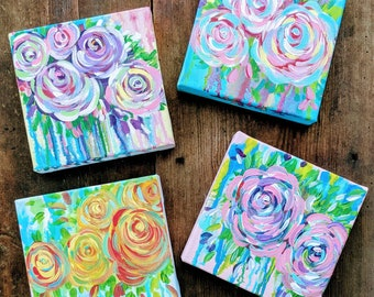Drippy Floral Paintings
