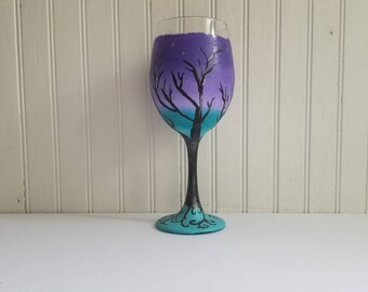 Hand painted wine glass custom painted glass sunset purple wine glass tree of life boho wine glass sunset painted glassware boho wedding