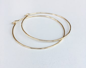 2 inch solid gold hoops - 10K solid gold - skinny hammered gold hoop earrings - marked 10K