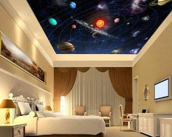ceiling solar system wallpaper, solar system wall mural, galaxy ceiling, galaxy wall decal, star wallpaper, ceiling, solar system ceiling