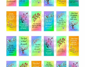 Instant Download - Scripture Bible Verses Collage Sheet - 1x2 inch domino size rectangles for glass tile pendants, magnets, key chains 333