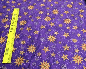 Gold Stars on Purple Cotton Fabric