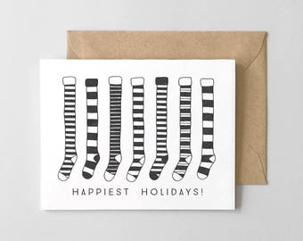 Holiday Stockings Letterpress Greeting Card