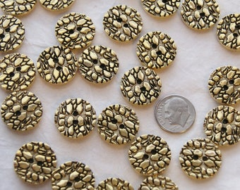 """25 Gold Buttons, Embossed Patern Top, 19mm  3/4"""" matching buttons,  Crafting Jewelry Collect (U 15)"""