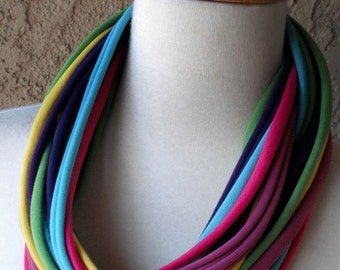 Color Burst Multicolored Jersey Scarf, Handmade, Circular, Infinity, T Shirt, Scarf Necklace