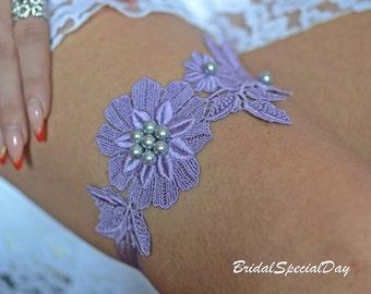 Purple Lace garter, Wedding Garter Set, Bridal Garter Purple, Pearls  Bridal Garter, Bridal Gifts , Handmade Garter, Bridal Accessories,Toss