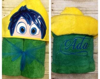 "Feelings ""Joy"" Hooded Towel/ Inside Out Inspired Hooded Towel/ Joy Hooded Towel/ Feelings Hooded Towel/ Childs Hooded Towel/ Beach Towel"