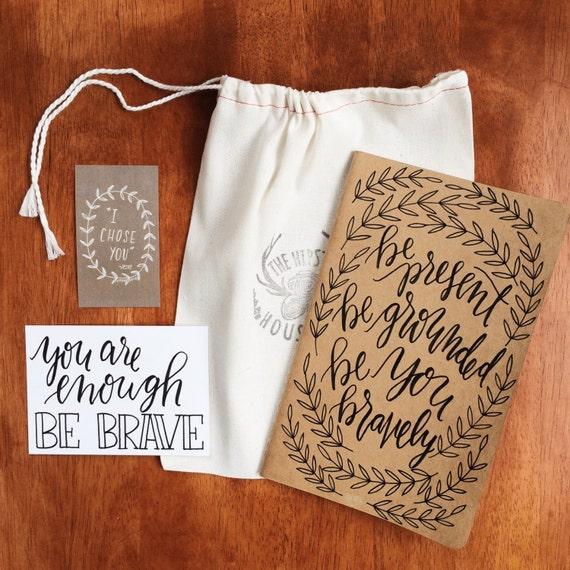 Yoga journal 'positivity pack', gift for yogis, mindfulness, meditation journal, yoga teacher gift, hand lettered mantra card, new year gift