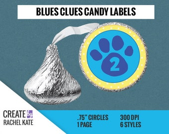 """CUSTOM ORDER - Blues Clues .75 Inch 3/4"""" Circle Round Candy Hershey Kiss Stickers Labels Favors"""