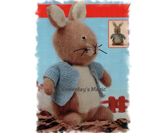 Instant Download PDF KNITTING PATTERN to make Peter Rabbit Soft Stuffed Cuddly Dressed Toy 11 Inches Tall 3 Ply Yarn
