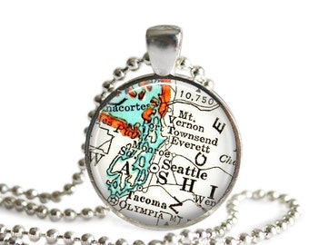 Seattle, Washington vintage map pendant charm, map necklace, Seattle Jewelry, Map of Seattle, Graduation Gifts for Girls, A307