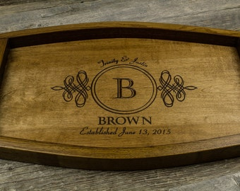 personalized serving tray wine barrel wedding gift anniversary gift housewarming gift rustic home decor engraved tray wood tray handles
