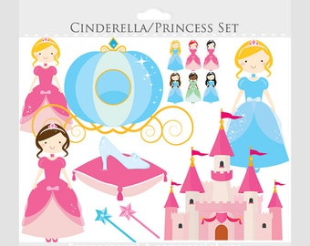 Cinderella clipart - princess clipart, princesses, castle, glass slipper, pumpkin carriage, wands, for personal and commercial use