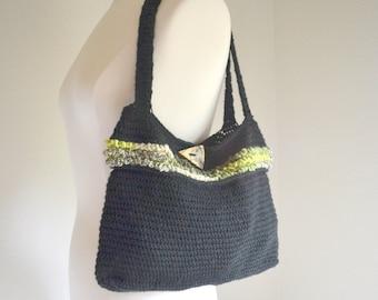 Crochet Shoulder Bag Crochet Handbag Purse Black Green Striped Tote Bag One of a Kind