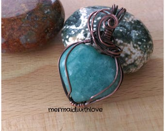 Amazonite Heart Pendant in Antiqued Copper