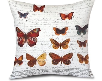 """Pillow Cover- White Butterfly Butterflies - Fits 18"""" pillow insert MADE IN USA"""