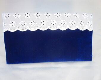 Blue Velvet Clutch Purse with Eyelet Detail