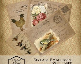 VintageEmbellished Postcards Instant Digital Download
