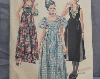 Vintage (1970) Simplicity 9025 Sz 9 Junior (32/23.5/33) Evening Dress Pattern