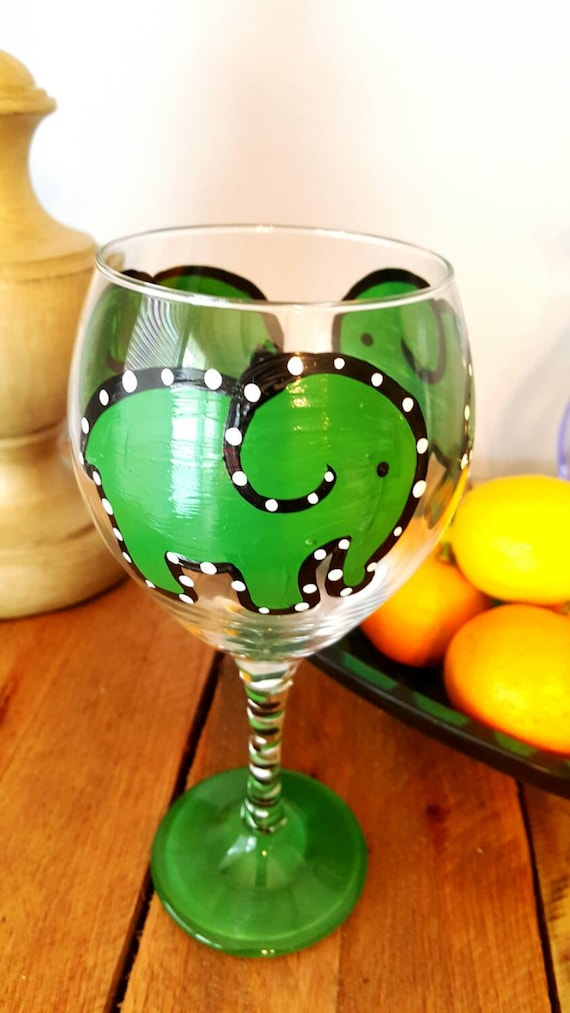 Green Elephant Painted Red Wine glass