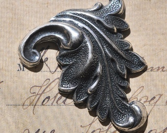 Neo Victorian brass curl, Sterling Silver Finish, brass ornaments, brass stampings, corners,  embellishments, scrapbooking and crafting