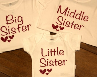 big sister shirt, middle sister shirt, little sister shirt, big sister shirt, little sister shirt, middle sister shirt, sibling tops