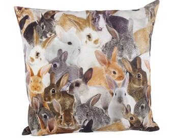 "Pillow Square incl. filling, trend motif, cotton, animal print ""Sweet Bunnies"""