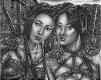 Sisters In Arms - original graphite drawing