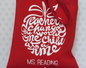 Teacher Christmas gifts, Teacher personalized tote, Teacher appreciation day gift, personalized teacher, christmas gift for teacher