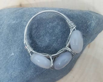 Three Stone Gray Agate and Silver Wire Wrapped Ring - Size 7 // Gifts for Her